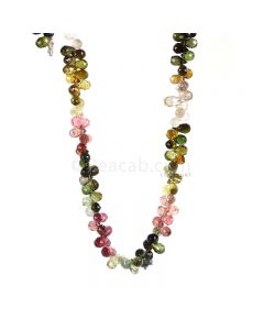 1 Line - Medium Tones Multi-Tourmaline Faceted Drops - 41.41 cts - 5.3 x 3.2 mm to 5.5 x 3.5 mm (MTFD1198)