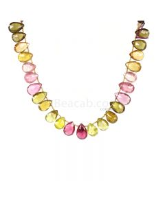 1 Line - Medium Tones Multi-Tourmaline Faceted Drops - 95.40 cts - 12.1 x 8.5 mm to 14.4 x 9.2 mm (MTFD1189)