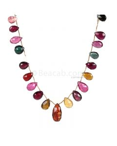 1 Line - Medium Tones Multi-Tourmaline Faceted Drops - 118.15 cts - 8.8 x 6.1 mm to 20.6 x 10.6 mm (MTFD1187)