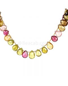 1 Line - Medium Tones Multi-Tourmaline Faceted Drops - 100.50 cts - 11 x 9.5 mm to 13.5 x 9.5 mm (MTFD1203)