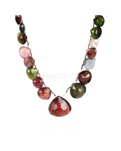 1 Line - Medium Tones Multi-Tourmaline Faceted Drops - 210.00 cts - 8.3 x 8.3 mm to 19.5 x 20.5 mm (MTFD1200)