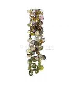 2 Lines - Medium Tones Multi-Tourmaline Faceted Drops - 107.50 cts - 5.4 x 5 mm to 12 x 7 mm (MTFD1196)