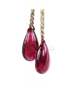 2 Pieces - Dark Pink Tourmaline Drops - 35.00 cts - 21 x 12.2 mm (TSD1218)