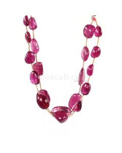 2 Lines - Medium Pink Tourmaline Tumbled Beads - 100.00 cts - 8.1 x 6.7 mm to 16.1 x 10.2 mm (TOTUB1085)