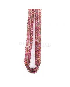 2 Lines - Watermelon Tourmaline Faceted Beads - 133.00 cts - 4.5 to 5.7 mm (TOFB1027)