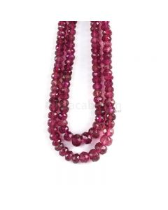 2 Lines - Dark Pink Tourmaline Faceted Beads - 188.00 cts - 4 to 7.8 mm (TOFB1034)
