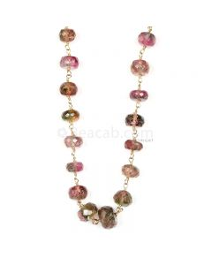 1 Line - Watermelon (Bi-Color) Tourmaline Faceted Beads & Gold Necklace - 73.00 cts - 4.5 to 8 mm (GWWCS1211)