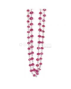 1 Line - Medium Red Ruby Faceted Beads & Gold Necklace - 83.64 cts - 3.1 to 5 mm (GWWCS1142)