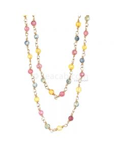 1 Line - Medium Tones Multi Sapphire Faceted Beads & Gold Necklace - 42.18 cts - 2.5 to 2.6 mm (GWWCS1185)