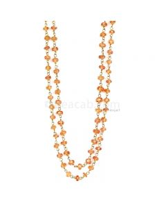 1 Line - Medium Orange Orange Sapphire Faceted Beads & Gold Necklace - 61.50 cts - 3 to 3.8 mm (GWWCS1146)