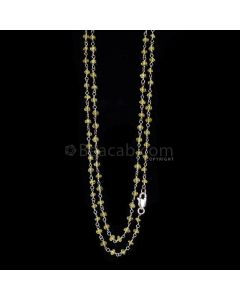 1 Line - Medium Yellow Yellow Sapphire Faceted Beads & Gold Necklace - 44.44 cts - 2.9 to 3 mm (GWWCS1128)