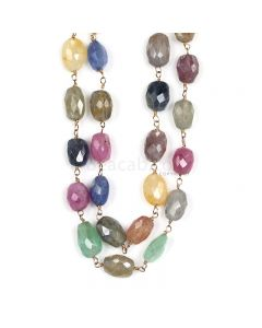 1 Line - Medium Tones Multi Sapphire Faceted Tumbled Beads & Gold Necklace - 224.87 cts - 9 x 6.8 mm to 10.4 x 6.4 mm (GWWCS1206)