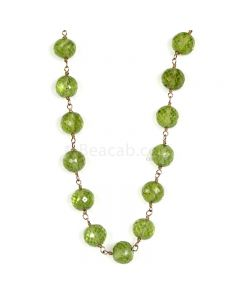 1 Line - Green Peridot Faceted Beads & Gold Necklace - 97.00 cts - 5.5 to 6.2 mm (GWWCS1195)