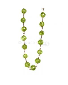 1 Line - Green Peridot Faceted Beads & Gold Necklace - 83.50 cts - 5.3 to 6.3 mm (GWWCS1196)
