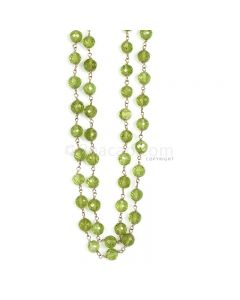 1 Line - Green Peridot Faceted Beads & Gold Necklace - 167.50 cts - 5.5 to 5.8 mm (GWWCS1197)
