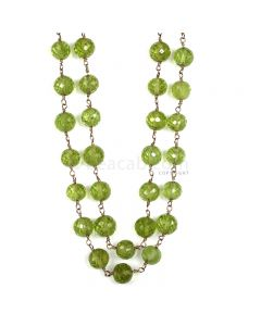 1 Line - Green Peridot Faceted Beads & Gold Necklace - 187.00 cts - 5.4 to 6.5 mm (GWWCS1198)