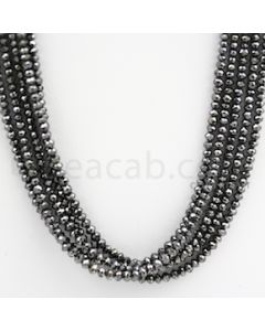 2.50 to 3.50 mm - Black Diamond Faceted Beads - 162.00 carats - 15 inches (BDia1011)
