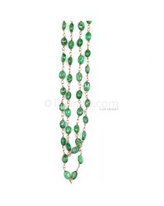 1 Line - Medium Green Emerald Tumbled Beads & Gold Necklace - 52.11 cts - 2.9 x 2.4 mm to 5.5 x 4.8 mm (GWWCS1252)