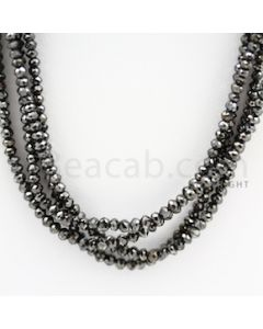 2.20 to 3.20 mm - Black Diamond Faceted Beads - 122.94 carats - 15 inches (BDia1012)