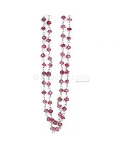 1 Line - Purple Purple Sapphire Faceted Beads & Gold Necklace - 64.50 cts - 3.4 to 3.6 mm (GWWCS1207)
