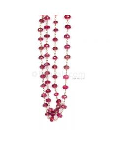 1 Line - Purple Purple Sapphire Faceted Beads & Gold Necklace - 95.00 cts - 3.8 to 6.6 mm (GWWCS1208)