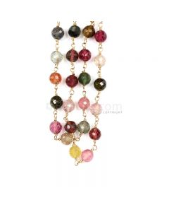 1 Line - Medium Tones Multi Tourmaline Faceted Beads & Gold Necklace - 112.25 cts - 4.8 to 5 mm (GWWCS1219)