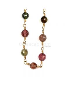 1 Line - Medium Tones Multi Tourmaline Faceted Beads & Gold Necklace - 41.23 cts - 4.4 to 4.6 mm (GWWCS1220)