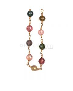 1 Line - Medium Tones Multi Tourmaline Faceted Beads & Gold Necklace - 41.14 cts - 4.6 to 4.7 mm (GWWCS1221)