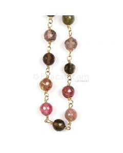 1 Line - Medium Tones Multi Tourmaline Faceted Beads & Gold Necklace - 49.76 cts - 4.1 to 5 mm (GWWCS1223)