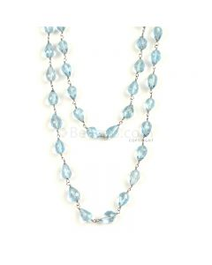 1 Line - Medium Blue Aqua Faceted Drops Beads & Gold Necklace - 146.28 cts - 6 x 4.9 mm to 8.1 x 5.3 mm (GWWCS1228)