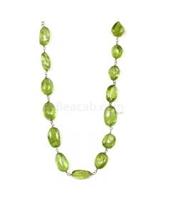 1 Line - Medium Green Peridot Tumbled Beads & Gold Necklace - 99.51 cts - 7.2 x 6.3 mm to 11.4 x 7 mm (GWWCS1253)