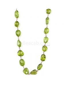 1 Line - Medium Green Peridot Tumbled Beads & Gold Necklace - 99.41 cts - 6.4 x 5.2 mm to 9.5 x 7.4 mm (GWWCS1254)