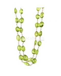1 Line - Medium Green Peridot Tumbled Beads & Gold Necklace - 117.11 cts - 5 x 4.5 mm to 10.2 x 7.4 mm (GWWCS1255)