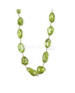 1 Line - Medium Green Peridot Tumbled Beads & Gold Necklace - 85.02 cts - 6.7 x 5.2 mm to 12.1 x 7.2 mm (GWWCS1256)