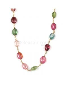1 Line - Medium Tones Tourmaline Tumbled Beads & Gold Necklace - 37.00 cts - 4.7 x 4.5 mm to 6 x 4.7 mm (GWWCS1285)