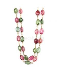 1 Line - Medium Tones Tourmaline Tumbled Beads & Gold Necklace - 63.76 cts - 6.1 x 4.8 mm to 6.5 x 4.4 mm (GWWCS1289)