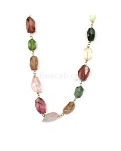 1 Line - Medium Tones Tourmaline Faceted Tumbled Beads & Gold Necklace - 64.66 cts - 6.6 x 5.2 mm to 10.5 x 6.4 mm (GWWCS1313)