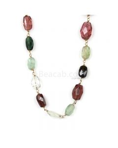 1 Line - Medium Tones Tourmaline Faceted Tumbled Beads & Gold Necklace - 67.50 cts - 5.4 x 5.6 mm to 11.6 x 7.7 mm (GWWCS1309)