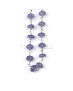 1 Line - Violet Tanznite Smooth Beads & Gold Necklace - 55.85 cts - 4.5 to 5.7 mm (GWWCS1296)