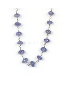1 Line - Violet Tanznite Smooth Beads & Gold Necklace - 49.87 cts - 4.6 to 5.7 mm (GWWCS1297)