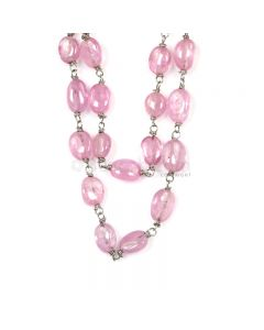 1 Line - Medium Pink Pink Sapphire Tumbled Beads & Gold Necklace - 125.90 cts - 4 x 3.6 mm to 8 x 5.8 mm (GWWCS1247)