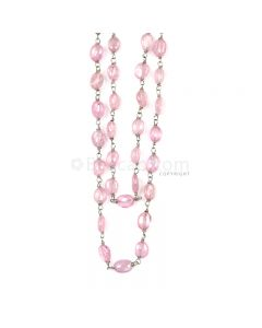 1 Line - Medium Pink Pink Sapphire Tumbled Beads & Gold Necklace - 103.42 cts - 3.1 x 3.7 mm to 7.4 x 5.8 mm (GWWCS1248)