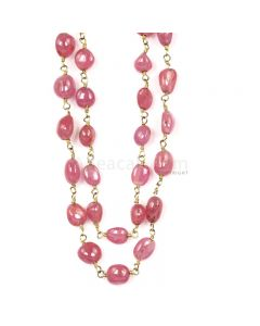 1 Line - Medium Pink Pink Sapphire Tumbled Beads & Gold Necklace - 158.40 cts - 6.1 x 4.7 mm to 6.5 x 4.7 mm (GWWCS1249)