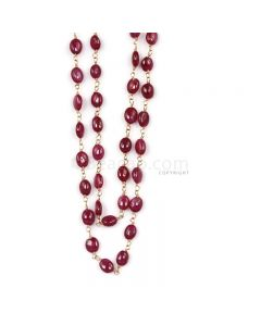 1 Line - Medium Red Ruby Tumbled Beads & Gold Necklace - 83.08 cts - 4.3 x 3.7 mm to 7.2 x 5.2 mm (GWWCS1251)