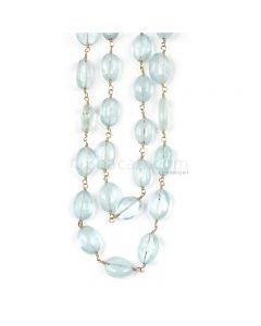 1 Line - Medium Blue Aqua Tumbled Beads & Gold Necklace - 161.11 cts - 9.1 x 6.7 mm to 12.3 x 6.7 mm (GWWCS1257)