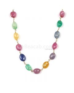 1 Line - Medium Tones Multi Sapphire Tumbled Beads & Gold Necklace - 113.02 cts - 7.3 x 6 mm to 9.6 x 6.6 mm (GWWCS1298)