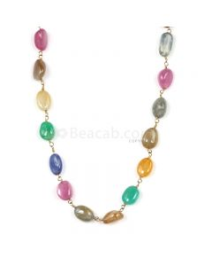 1 Line - Medium Tones Multi Sapphire Tumbled Beads & Gold Necklace - 107.50 cts - 8.3 x 6.3 mm to 9.1 x 6.9 mm (GWWCS1300)