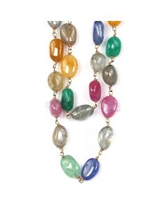 1 Line - Medium Tones Multi Sapphire Tumbled Beads & Gold Necklace - 252.50 cts - 8.1 x 6.3 mm to 6.4 x 7.3 mm (GWWCS1301)