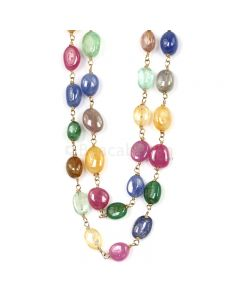 1 Line - Medium Tones Multi Sapphire Tumbled Beads & Gold Necklace - 178.40 cts - 6.6 x 5.3 mm to 8.6 x 5.8 mm (GWWCS1302)