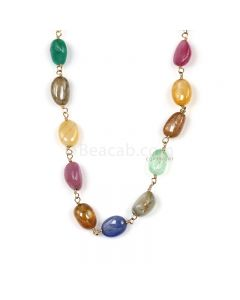 1 Line - Medium Tones Multi Sapphire Tumbled Beads & Gold Necklace - 97.40 cts - 9.2 x 6.2 mm to 8.8 x 6.2 mm (GWWCS1303)